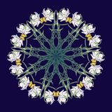 Spring flowers. Daffodil flowers interlaced into an intricate circular ornament on a dark blue background. Art Nouveau. Style drawing. Mandala tattoo design Stock Images