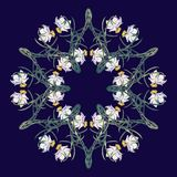 Spring flowers. Daffodil flowers interlaced into an intricate circular ornament on a dark blue background. Art Nouveau. Style drawing. Mandala tattoo design Royalty Free Stock Photos