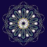 Spring flowers. Daffodil and snowdrop flowers interlaced into an intricate circular ornament on a dark blue background. Art Nouveau style drawing. Mandala Royalty Free Stock Photography