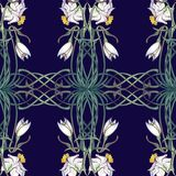 Spring flowers. Daffodil and snowdrop flowers interlaced into an intricate ornament on a dark blue background. Art Nouveau style drawing. Seamless pattern with Royalty Free Stock Photos