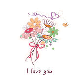 Spring flowers and daisy flower bouquet vector Royalty Free Stock Photo