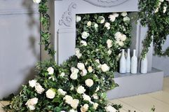 Spring flowers decoration beautiful fireplace royalty free stock images
