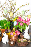 Spring flowers with easter decoration Stock Image