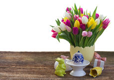 Spring flowers with easter egg Stock Photography
