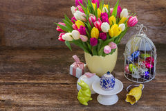 Spring flowers with easter egg Royalty Free Stock Photo