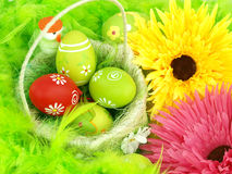 Spring flowers and Easter eggs Stock Images