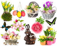 Spring flowers, easter eggs, butterfly, rabbit, bunny. easter de. Set of spring flowers, easter eggs, butterfly, rabbit, bunny. easter decorations isolated on Royalty Free Stock Photos