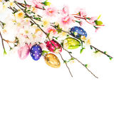 Spring flowers and easter eggs decoration Stock Photos