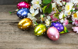 Spring flowers and easter eggs decoration Stock Image
