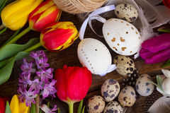 Spring flowers with easter eggs Royalty Free Stock Photo