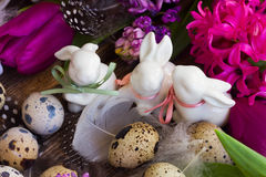 Spring flowers with easter eggs Stock Images