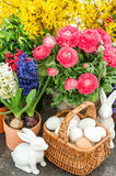 Spring flowers with easter home interior decoration Stock Photo