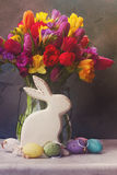 Spring flowers with easter rabbit and eggs Royalty Free Stock Photo