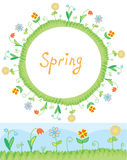 Spring flowers frame and border Stock Images