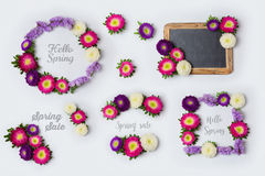 Spring flowers frames set for mock up template design. View from above. Flat lay Royalty Free Stock Image