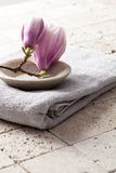 Spring flowers on fresh towel for home spa Royalty Free Stock Photos