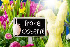 Spring Flowers, Frohe Ostern Means Happy Easter Royalty Free Stock Photos