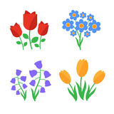 Spring flowers. Fun and cute  spring flowers icons Stock Images