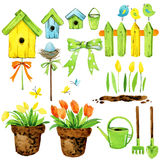 Spring flowers, garden decor, bird house, and birds. watercolor set Stock Photography