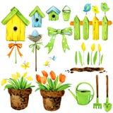 Spring flowers, garden decor, bird house, and birds. watercolor set Stock Photography