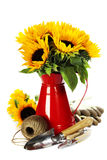 Spring flowers and garden tools Stock Photo