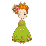 Spring flowers and girl illustration. Stock Photography