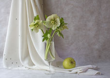 Spring flowers and green apple Stock Photo