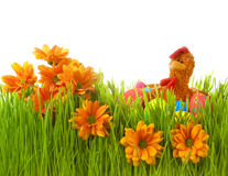 Spring flowers in green grass with easter eggs and chicken Royalty Free Stock Photo