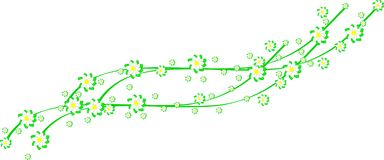 Spring flowers on green ribbons. Illustration of green spring flowers on green ribbons for greeting cards Royalty Free Illustration