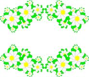 Spring flowers on green ribbons. Illustration of spring flowers on green ribbons for greeting carts Royalty Free Illustration