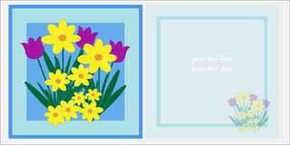 Spring Flowers Greetings Card Template Royalty Free Stock Image