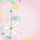 Square Hand-drawn Simple Floral Illustration. A hand-drawn illustration of white and yellow flowers with abstract yellow, teal and green rain drops with a pink Stock Photography