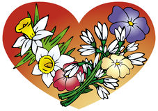 Spring flowers and heart Stock Photo