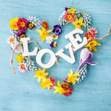 Spring flowers in a hearts shape Stock Photos