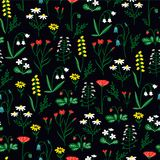Wildflowers Pattern. Cute Seamless Pattern with Flower. Stock Photos