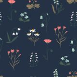 Spring Flowers and Herbs. Floral Ornament for Textiles. Stock Image