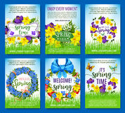 Spring flowers holiday greeting vector posters set. Spring greeting posters. Vector design of springtime flowers, floral wreath and bouquets for spring holiday Royalty Free Stock Photos