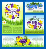 Spring flowers holiday posters and vector banners. Hello Spring greeting posters set. Vector design template for springtime holiday. Blooming flowers and floral Royalty Free Stock Photos
