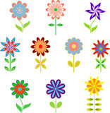 Spring Flowers Illustrations. Isolated multicolored spring flowers illustrations, pink flowers, purple flowers, blue flowers, green flowers, orange flowers, red Royalty Free Stock Photography