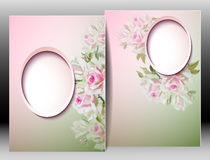 Spring flowers invitation template card Stock Photo