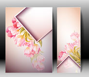 Spring flowers invitation template card Royalty Free Stock Images