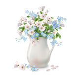 Spring Flowers in Jug. Vector spring bouquet in ceramic jug with fallen petals and flowers on a white background Royalty Free Stock Images