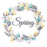 Spring flowers, leaves, dandelion, grass. Design for invitation, Stock Images