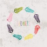 Spring flowers, leaves, dandelion, grass on a vintage background stock illustration