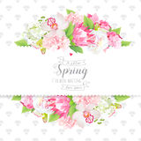 Spring flowers and leaves horizontal vector design card. White peony, protea, pink hydrangea, orchid flowers and spring green leaves horizontal vector design Stock Photography
