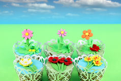 Spring flowers muffins cake Stock Photography