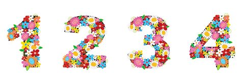 Spring flowers NUMBERS 1234 Stock Photo