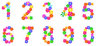 Spring Flowers Numbers. Spring Flower Numbers Set Illustration Stock Photos