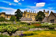 Spring Flowers overlooking Christchurch in Oxford  from the Christchurch college gardens Royalty Free Stock Images