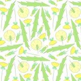 Spring flowers pattern. Yellow pattern. royalty free illustration